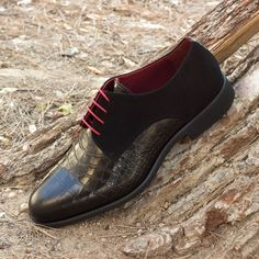 Custom Made Derby in Black Croco Embossed Leather and Kid Suede Classic Derby from Robert August Shoes Custom Made Shoes, Custom Design Shoes, Slip On Shoes, Men's Shoes, Dress Shoes, Shoes Men, Mens Derby Shoes, Derby Dress, Best Shoes For Men