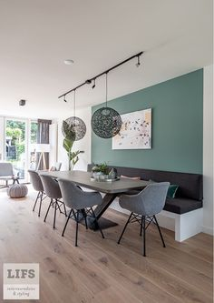 Estilo Interior, Room Interior, Interior Design, Interior Styling, Design Design, Green Dining Room, Dining Room Design, Dining Rooms, Banquette Seating