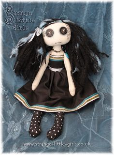 Strange Little Girls - OOAK Vegan Gothic cloth art doll with button eyes 'Crystal Black'