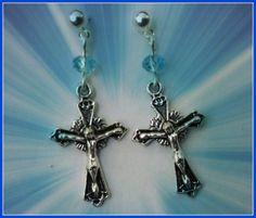 Crucifx earrings by Purrwoof on Etsy, $5.00