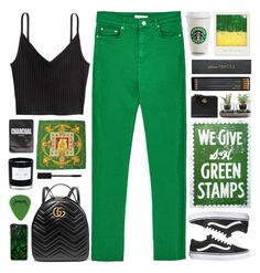 """Green high-waisted jeans"" by doga1 ❤ liked on Polyvore featuring Gucci, Topshop, Go Jump in the Lake, Hermès, Casetify, Polaroid, Lapcos, D.L. & Co., Nude and Sloane Stationery"