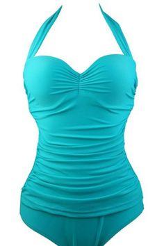 Chic Halte Pure Color Ruffled One-Piece Women's Swimwear