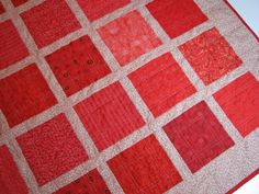 Quilted ThrowRed Prints by VillageQuilts on Etsy