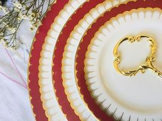 Holiday High Tea in Red and Gold with Coalport Spearpoint 3 | Etsy Tea Party Theme, Party Themes, Gifts For Wedding Party, Party Gifts, Vintage Tea, Vintage Decor, Three Tier Cake, 3 Tier Cake Stand, Tea Party Decorations
