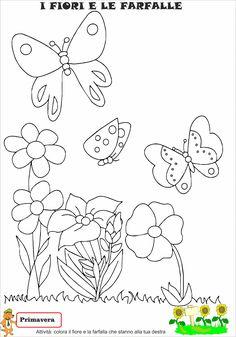 Idee e proposte didattiche per lo sviluppo e l'apprendimento. Risorse per insegnanti, educatori, genitori e Bambini Butterfly Embroidery, Embroidery Patterns, Hand Embroidery, Diy And Crafts, Crafts For Kids, Arts And Crafts, Paper Butterflies, Spring Crafts, Cristiano