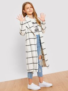 Product name: Girls Single Button Grid Print Longline Coat at SHEIN, Category: Girls Jackets & Coats Kids Outfits Girls, Cute Girl Outfits, Girls Fashion Clothes, Tween Fashion, Cute Outfits For Kids, Teen Fashion Outfits, Cute Casual Outfits, Girl Fashion, Tween Clothes For Girls
