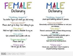 Female and Male Dictionary. humor