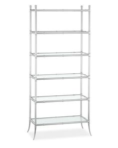 Tyler Etagere Glass 6-Shelf Bookcase, Polished Nickel