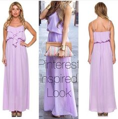 Pretty purple maxi with ruffle detail front. Adjustable straps and fully lined. | Shop this product here: http://spreesy.com/shoptopshelfwardrobe/1787 | Shop all of our products at http://spreesy.com/shoptopshelfwardrobe    | Pinterest selling powered by Spreesy.com