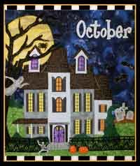 October Holiday House Haunted House Quilt Pattern. http://www.kayewood.com/October-Holiday-House-Haunted-House-Quilt-Pattern-by-Zebra-Patte-ZP-OCHO.htm  $12.00