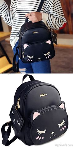 Fashion PU Cute Cat Printing Leisure Kitty Cartoon Kitten School Backpacks for big sale! #kitten #school #kitty #cartoon #leisure #cat