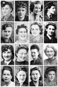 One of 3 .... A collection of WWII photographs, depicting some Of the hairstyles of the time, like the victory Rolls, the lifted and the swoops hairstyles. Most of these woman pictured here, were either in the services, the Land Army, WVS, working in factories or part of the home front. A rather inspiring gaggle of girls with gorgeous locks.