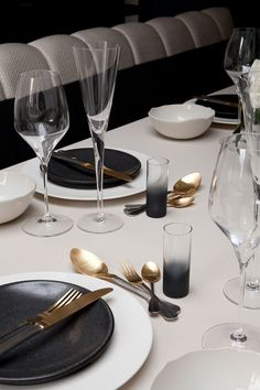 Table setting detail in an apartment on the King's Road designed by Rachel Winham.