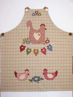 Chicken Crafts, Chicken Art, Pinafore Apron, Cute Aprons, Country Quilts, Denim Ideas, Sewing Aprons, Aprons Vintage, Patch Quilt
