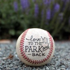 Hand Lettered Baseball, Father's Day, Anniversary, Birthday, Gift, Typography, Handprint, Thumb print, Heart, I love you, Wedding by DignifiedWalrus on Etsy