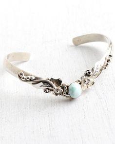 SALE - Vintage Sterling Silver Cuff Bracelet - White & Mint Green Cabochon Retro 1960s Flower Leaf Vine Hallmarked Jewelry