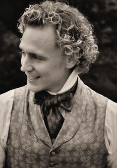 "Tom Hiddleston as William Buxton (""Return to Cranford"") That freaking curly blonde hair. Thomas William Hiddleston, Tom Hiddleston Loki, Elizabeth Gaskell, It Goes On, British Actors, Period Dramas, Prince Charming, Jane Austen, Perfect Man"