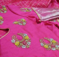 No photo description available. Cutwork Blouse Designs, Pattu Saree Blouse Designs, Fancy Blouse Designs, Bridal Blouse Designs, Mirror Work Blouse Design, Maggam Work Designs, Maggam Works, Cream Blouse, Hand Embroidery