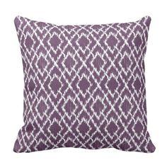 Plum Purple Tribal Print Ikat Geo Diamond Pattern Throw Pillow