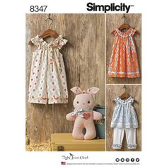 Simplicity Pattern 8347 Toddlers' Dress, Top, Knit Capris, and Stuffed Bunny