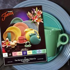 Vintage Fiesta(ware) Turquoise was added in 1988, Periwinkle Blue in 1989 and Sea Mist Green in 1991.  The HLC product sheet featured colours F100 White, F101 Black,  F103 Rose, F104 Apricot, F105 Cobalt Blue, F106 Yellow,  F107 Turquoise, F108 Periwinkle Blue and F109 Sea Mist Green