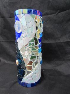 handmade blue mosaic vase by tanyagrub on Etsy, $30.00