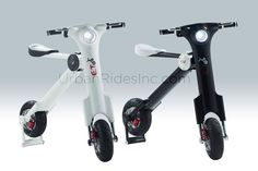 Foldable E-Bike Electric Scooter ET Scooter Motor Scoters. World's first high-tech portable, fold-able electric scooter with a unique patent design. Capable of going 40KM per charge with its built in LI-Ion battery. E.T is powerful to climb a 24 grade hill easily with its 250W engine system. Foldable design, can fit upto 2 scooters in a normal sedan car's trunk. Lithium Polymer Battery. Short charging time, 3-4 hours. Full aluminium alloy body, Light weight design,30kgs.