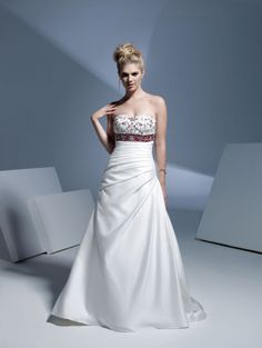 Empire Waist A-line With Red Long Sash Satin Wedding Dress Style