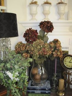 Home decor-I dried hydrangeas at the end of Summer.  They still look awesome.  Can't wait for Summer!