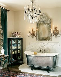 Nice 43 Enchanting Bathroom Chandeliers Decorations Ideas. More at http://trendecor.co/2018/05/18/43-enchanting-bathroom-chandeliers-decorations-ideas/