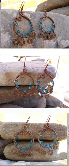 Discount coupon CUTE4YOU77 Blue earrings   vintage Copper Jewelry Wire Wrapped bead antique Hammered  handmade steampunk bohemian boho (18.50 USD) by LovelyHandMadeCraft