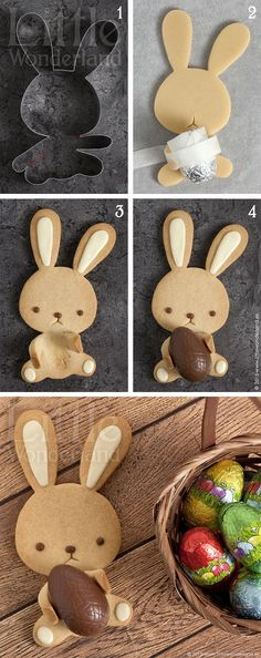 Easter egg holding bunny biscuit - such a clever idea for a lovely little Easter gift!