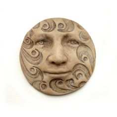 Faux Bone Carved Waves Round 40mm Art Doll Face by graphixoutpost