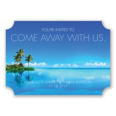 If you're going to a tropical destination for your wedding, this invitation will help guests picture your day!