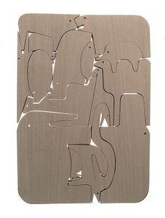 Sedici Animali by Enzo Mari: Made of oak. #Wooden_Animals #Puzzle