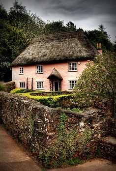 storybook style pink house with thatched roofs via: whitenoten
