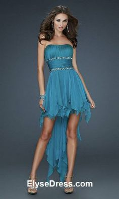 Strapless Short Dress short front long back