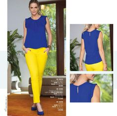 from Catalogo ebba abril 2016 Yellow Jeans Outfit, Colored Jeans Outfits, Red Pants, Color Combinations For Clothes, Color Blocking Outfits, Casual Work Outfits, Classy Outfits, Cute Outfits, 60 Fashion