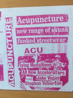 Acupuncture Records - Barnzley, Flying Medallions, All New Accelerators, Acupuncture Allstars, Jack Vegas, poet Stephen Yelverton (RIP)