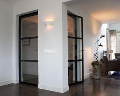 Enkele deuren van glas en staal in Ederveen Interior And Exterior, Interior Architecture, Interior Decorating, Interior Design, Chic Bathrooms, Moving House, Steel Doors, Windows And Doors, Internal Doors