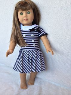 American girl doll dress black and white by DollClothesByRoseAnn, $10.00
