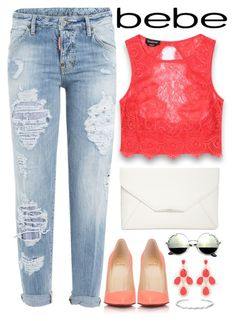 """All Laced Up for Spring with bebe: Contest Entry"" by bmaroso ❤ liked on Polyvore featuring Bebe, Dsquared2, Christian Louboutin, Style & Co. and alllacedup"