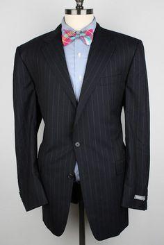 NWT New Hickey Freeman Dark Navy Striped Wool 44 L mens Sport Coat Suit Jacket #HickeyFreeman #TwoButton
