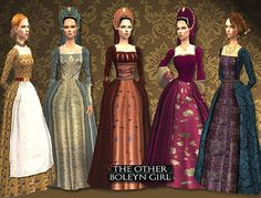Spring4Sims » Historical Tudor Dresses & Matching Hairs by All About Style