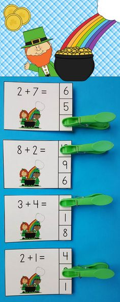 Paddy's Day Addition Math Centers (Sums of 0 to Kindergarten Teachers, Kindergarten Activities, Student Teaching, Teaching Ideas, Activity Centers, Math Centers, School Site, School Stuff, March Themes