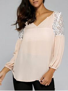 GET $50 NOW | Join RoseGal: Get YOUR $50 NOW!http://www.rosegal.com/blouses/ruched-sleeve-lace-patchwork-blouse-706222.html?seid=6897633rg706222