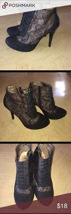 Vigoss Black Lace High Heel Booties Women's Vigoss Black Lace High Heel Booties. In Ok Used Condition. Scuffed on Toes & Back of Heels(Shown) More Pics Upon Request Vigoss Shoes Ankle Boots & Booties