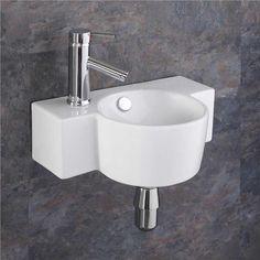 Ceramic x Small Sink Space Saving Basin Wall Mounted Sink Bathroom Small Cloakroom Basin, Cloakroom Toilet Downstairs Loo, Small Basin, Small Bathroom Sinks, Bathroom Basin, Bathroom Ideas, Cloakroom Ideas Small, Bathroom Plans, Bathroom Laundry