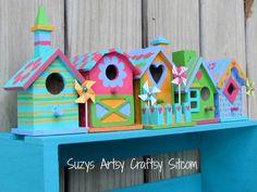 colorful birdhouse shelf