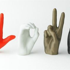 From sacred symbol to secret handshake to sign language, the human hand contains multitudes of gestures. print your own Iconic Hands that can serve a purpose, tell a story and look cool. These four sign language letters are iconic, expressive Make 3d Printer, 3d Printing Diy, 3d Printer Projects, Impression 3d, Sign Language Letters, Secret Handshake, 3d Things, 3d Printed Objects, Sacred Symbols